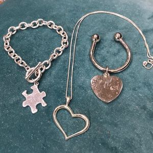 Jewelry - 3 pieces of jewelry, sterling heart necklace